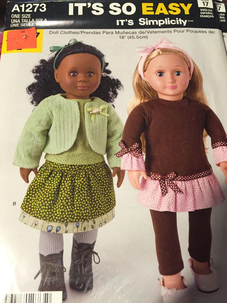 """Simplicity 1496 Doll Clothes 18/""""  Craft Sewing Pattern"""