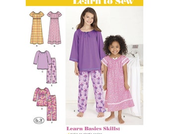 Simplicity Pattern 1722 Learn to Sew Child's and Girl's Loungewear ~ Factory Folded UnCut Sewing Pattern