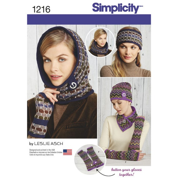 Simplicity Pattern 1216 Misses Knit Cold Weather Etsy