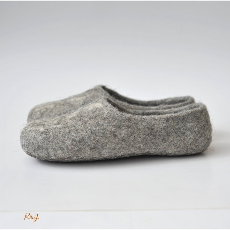 Handmade eco friendly felted slippers from natural wool grey