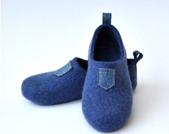 """Summer Sale Felted slippers """"I like JEANS""""."""