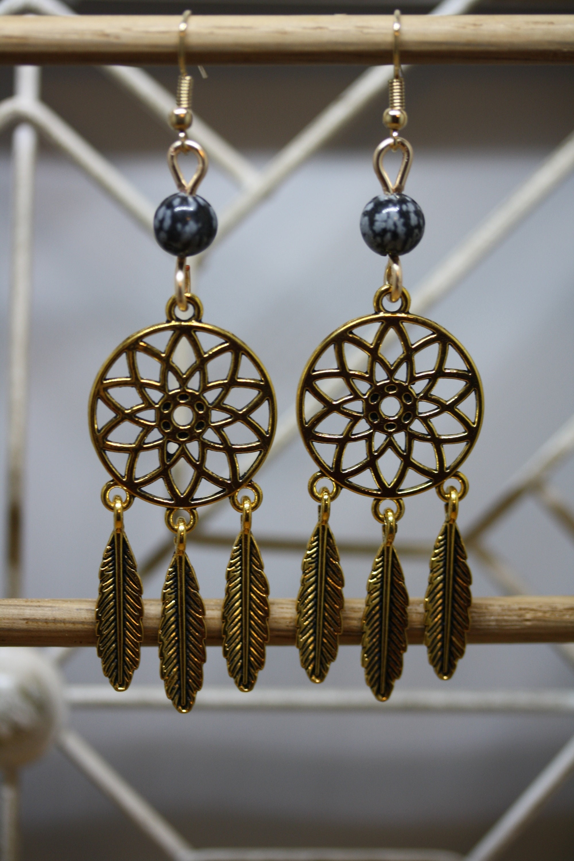 Snowflake Obsidian Dreamcatcher Earrings