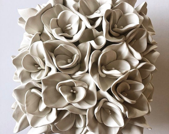 Large Square Hydrangea Clay Wall Sculpture