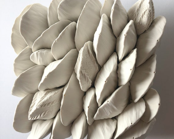 Almond Small Clay Wall Sculpture Tile, clay wall art
