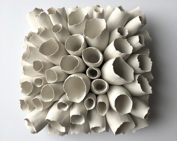 Large Foxglove Wall Sculpture, Wall Tile, Torn Petals, Flower Wall Art Sculpture, Clay Sculpture, Flower Wall Art