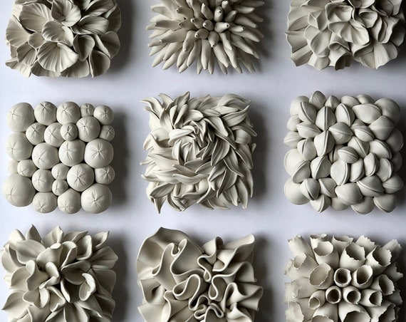 Set of 9 Miniature Clay Wall Tile Sculptures of your choice