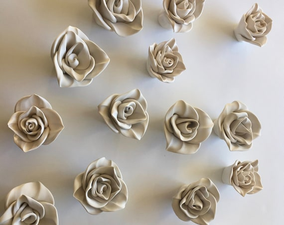 Set of Six Clay Wall Flower Decor
