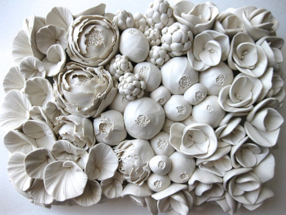 Floral Clay Wall Sculpture Tile (or Design your own)