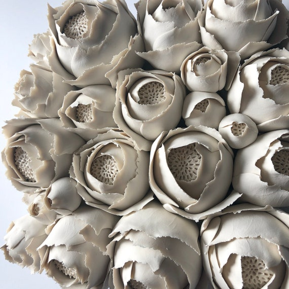 Peony Clay Wall Sculpture Tile, 3D home decor, handmade flower sculpture, modern Scandinavian design, dimensional wall art, wedding gift
