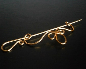 Celtic Shawl Pin, Scarf Pin, Sweater Brooch, Hair Pin, Knitting Accessories, Gold Wire pin