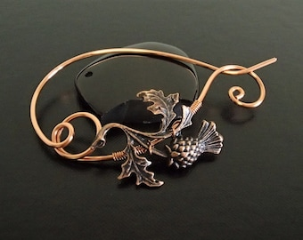 Scottish Thistle Brooch pin, Shawl Pin, Scarf Pin, Sweater Brooch, Knitting Accessories, Copper Wire pin