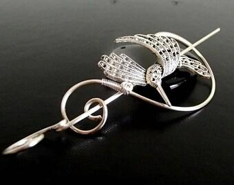 Bird Shawl Pin, Scarf Pin, Sweater Brooch, Hair Pin, Knitting Accessories, Silver Wire pin