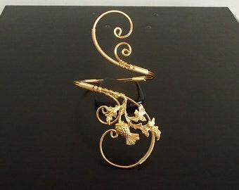 Scottish Thistle Bracelet, Cuff Bracelet, Arm cuff, Spiral Arm Band, Arm Bangle, Gold bracelet, Wire Wrapped  jewelry