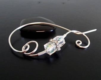 Shawl Pin, Scarf Pin, Crystal brooch, Sweater Brooch, Knitting Accessories, Silver Wire pin