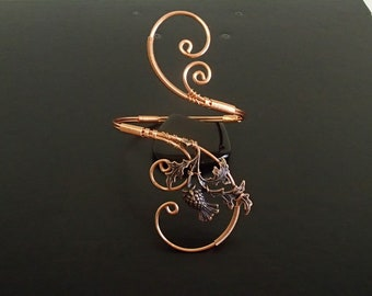 Scottish Thistle Bracelet, Cuff Bracelet, Arm cuff, Spiral Arm Band, Arm Bangle, Copper bracelet, Wire Wrapped  jewelry
