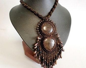 Bronzite Necklace, Pearl Necklace, Unique Necklace, Beadwork Necklace, Brown Necklace, OOAK Bead Embroidered