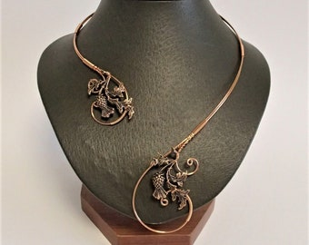 Scottish Thistle Necklace, Copper Necklace, Collar Statement Necklace, Wire Necklace, Open Necklace