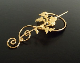 Scottish Thistle Brooch pin, Shawl Pin, Scarf Pin, Sweater Brooch, Knitting Accessories, Gold Wire pin
