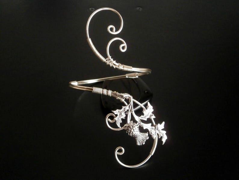 Scottish Thistle Bracelet Cuff Bracelet Arm cuff Spiral Arm image 1