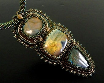 Green Gold Necklace, Labradorite Necklace, Bead Embroidered Necklace, Unique Necklace, Beadwork Necklace, OOAK necklace