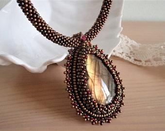 Labradorite Necklace, Labradorite Pendant, Bead Embroidered Necklace, Unique Necklace, Beadwork Necklace, OOAK necklace