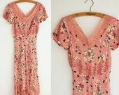 Vintage Betsey Johnson Dress - 1990s Floral Bias Cut Dress with Lace - Apricot - Size S