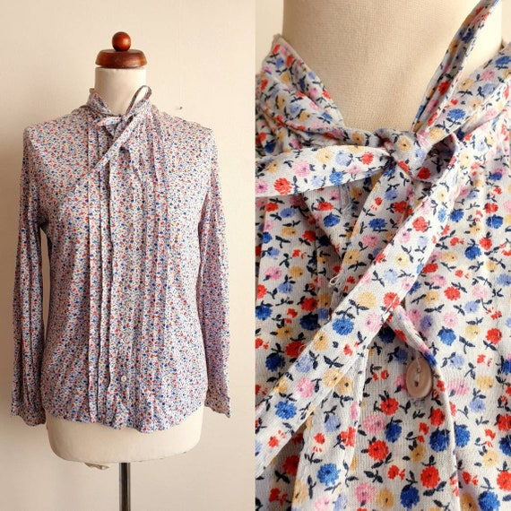Vintage Blouse - Light Blue Floral Blouse with Bow