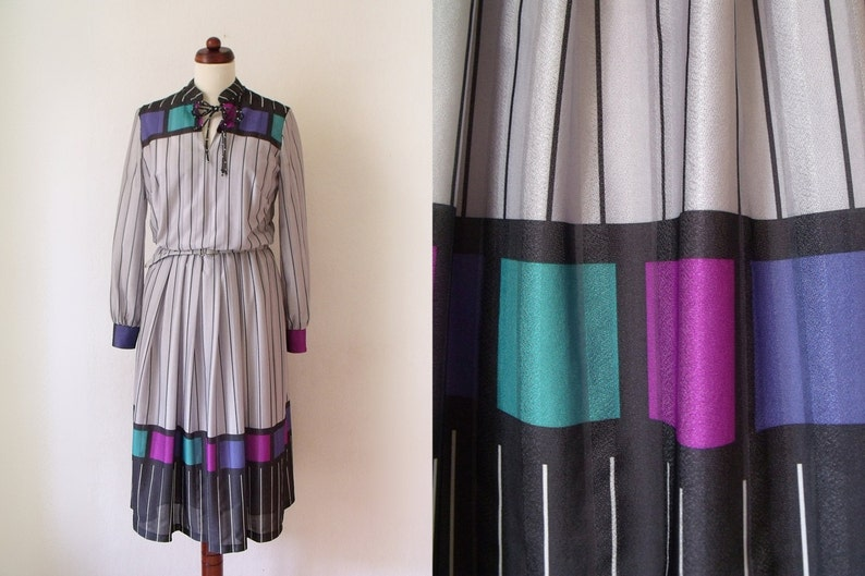 Vintage Poly Dress Grey 1970/'s Dress Size M