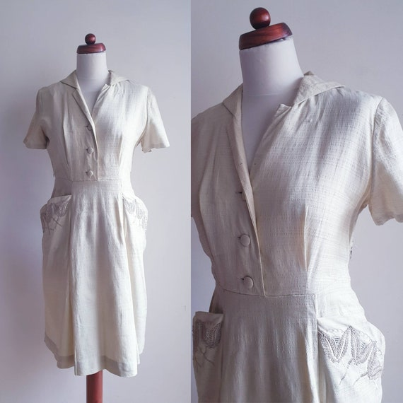 1940's Shirtwaist Dress with Soutache Embroidered