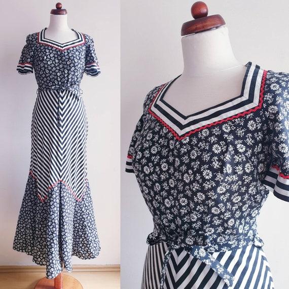 Vintage Maxi Dress - Black & White 1970's Maxi Dre