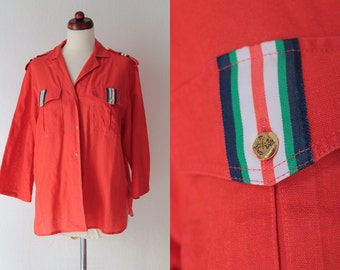Vintage Red Sailor Blouse from the 1980's - Size M