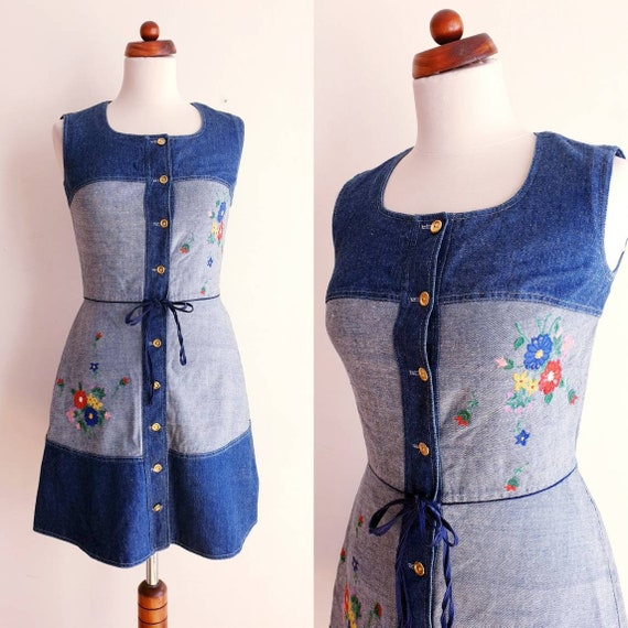 Vintage Denim Dress - 1970's Embroidered Cotton Dr