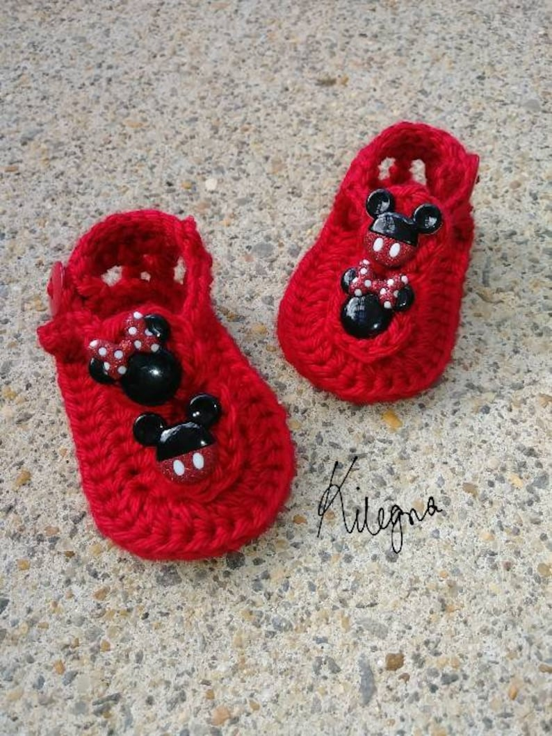 e1532c76de571 Baby Girl Newborn Red Sandals Minnie Mouse and Mickey Mouse Inspired Soft  Sole Crib Shoes Baby Crochet Red Sandals Baby handmade Summer shoe