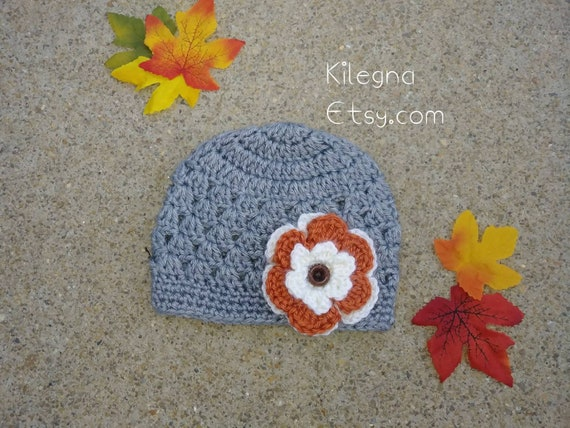 Baby Girl White Crochet Hat with a lovely large Red flower 3//6 mths