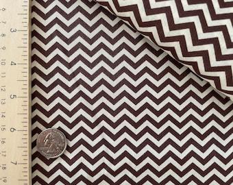 Dark Brown and Cream Small Chevron Quilting Cotton Basic Fabric Destash by the Yard