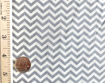 Gray and Cream Small Chevron Quilting Cotton Fabric by the yard - Fabric Destash by the Yard