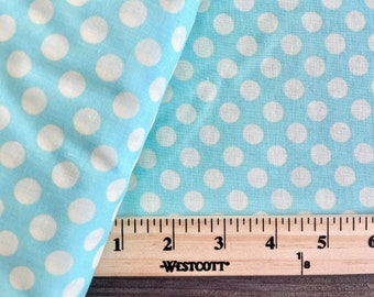 Pastel Aqua Blue and Cream Polka Dot Broadcloth Quilter's Showcase Cotton Fabric by the Yard - Clearance Destash Sale