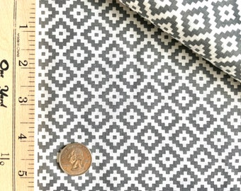 Gray and White Aztec Southwestern Cotton Fabric by the Yard - Fabric Destash Clearance