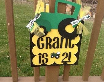 Tractor Birthday Party Door Sign