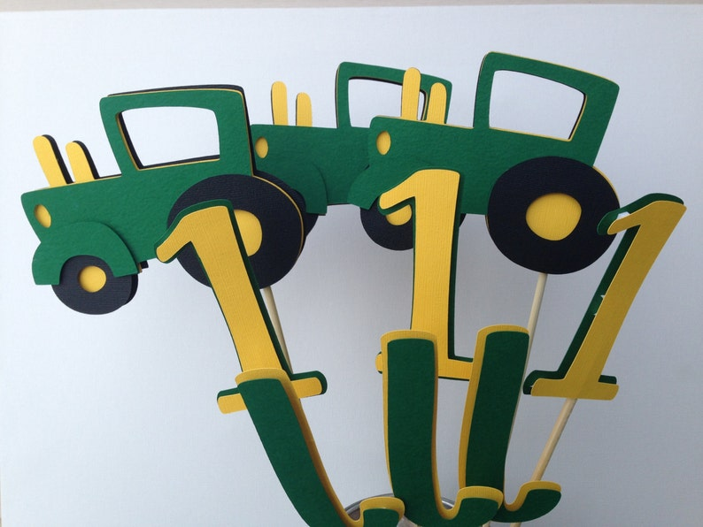 9 Piece Green And Yellow Tractor Table Decorations John Deere Etsy