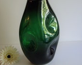 Big Blenko Pinch Vase, Emerald Green, Winslow Anderson, Extra Large, Mid Century Statement Piece, Collectible Glass