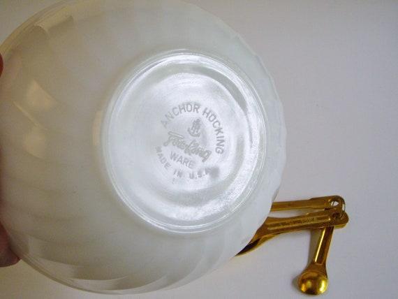 Fire King Swirl Nesting Bowl  Milk Glass Mixing Bowl  Farmhouse Kitchen  Mid Century  Small White 7 inch Bowl