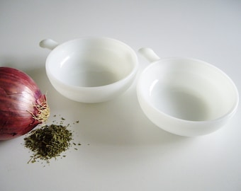 Vintage, Soup Bowls, Bowls with Handle, Milk Glass, Glasbake, French Onion Soup, Set of 2