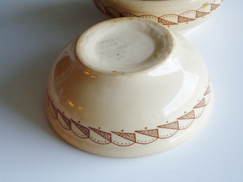 unique gift for collector Wallace Desert Ware Restaurant Bowls Heavy beige and brown Ceramic with Art Deco pattern Rare collectible