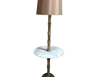 3c7d05203148 Brass and Marble Bamboo Table Floor Lamp