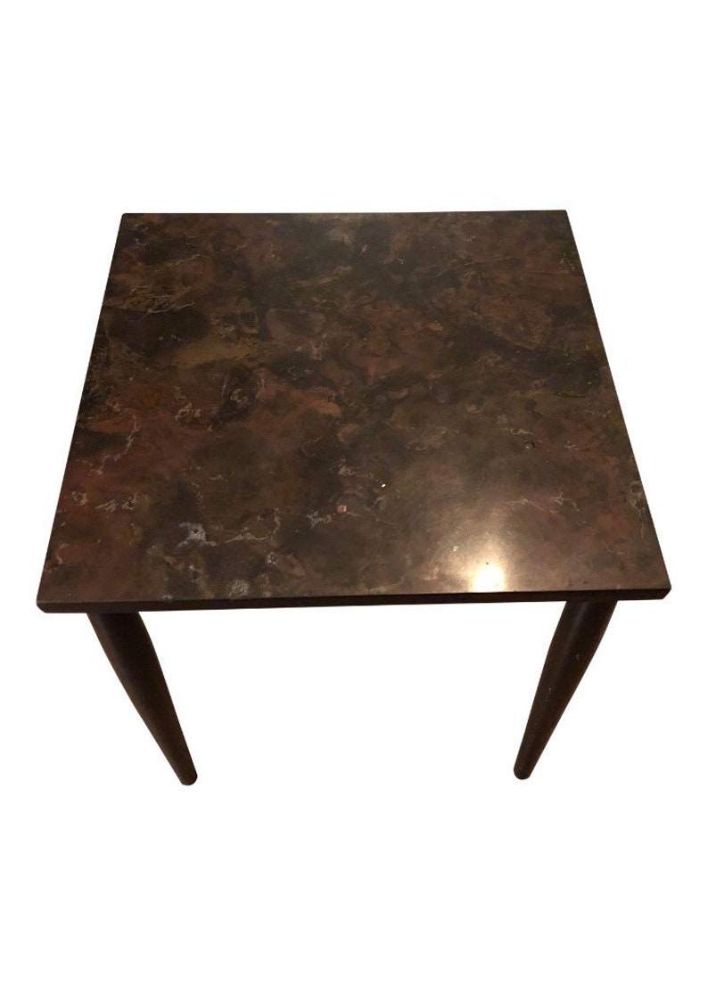 Traditional Faux Marble Side Table Etsy
