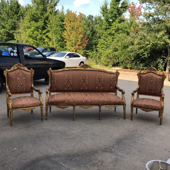 Brilliant 1930S Vintage Imperial Gilded French Sofa And Chairs Set Of 3 Ncnpc Chair Design For Home Ncnpcorg
