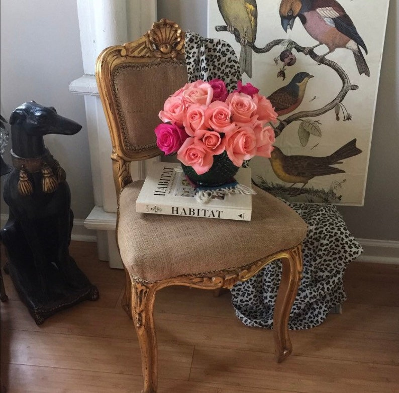 French Gilded Shell Detail Accent Chair