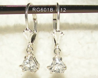 Trilliant White Sapphire 1.00tcw  Dangle Earrings