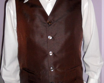 Chocolate brown men's vest, size XL, classic formal mens vest, ready to ship